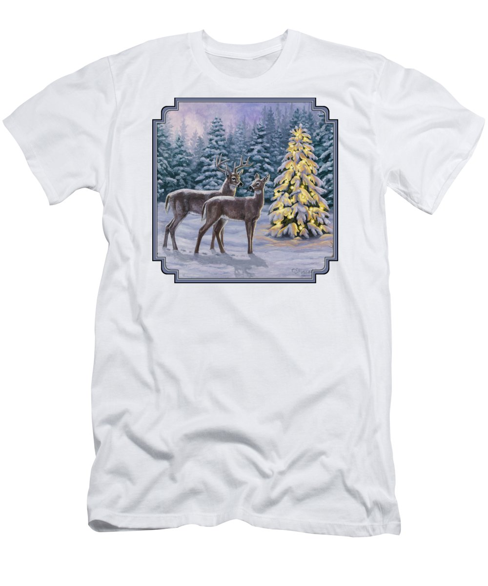 Deer Men's T-Shirt (Athletic Fit) featuring the painting Whitetail Christmas by Crista Forest