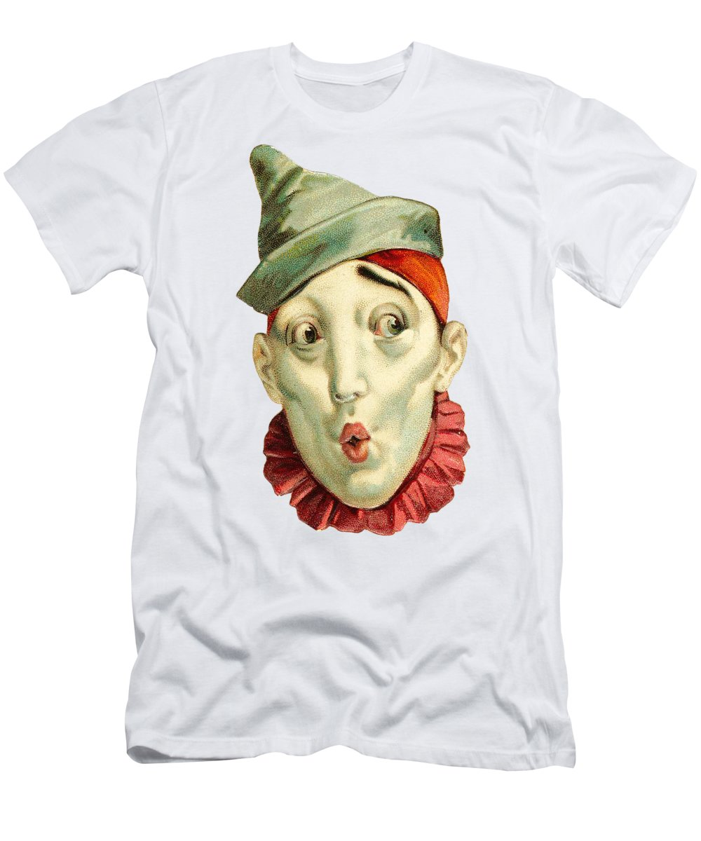 Vintage Clown Men's T-Shirt (Athletic Fit) featuring the digital art Who Me? by ReInVintaged