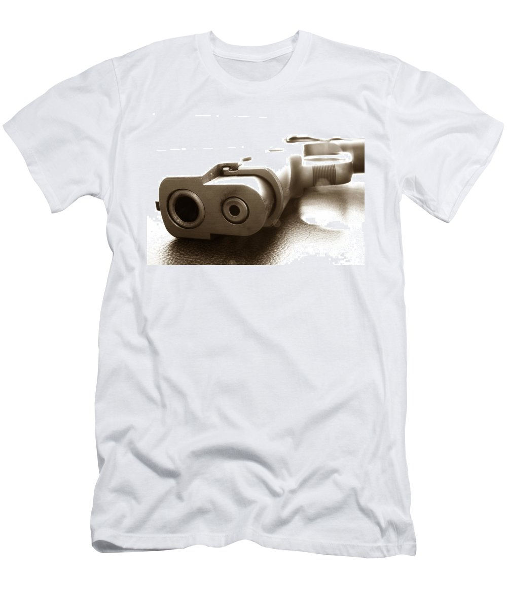 Gun Men's T-Shirt (Athletic Fit) featuring the photograph Why by Amanda Barcon