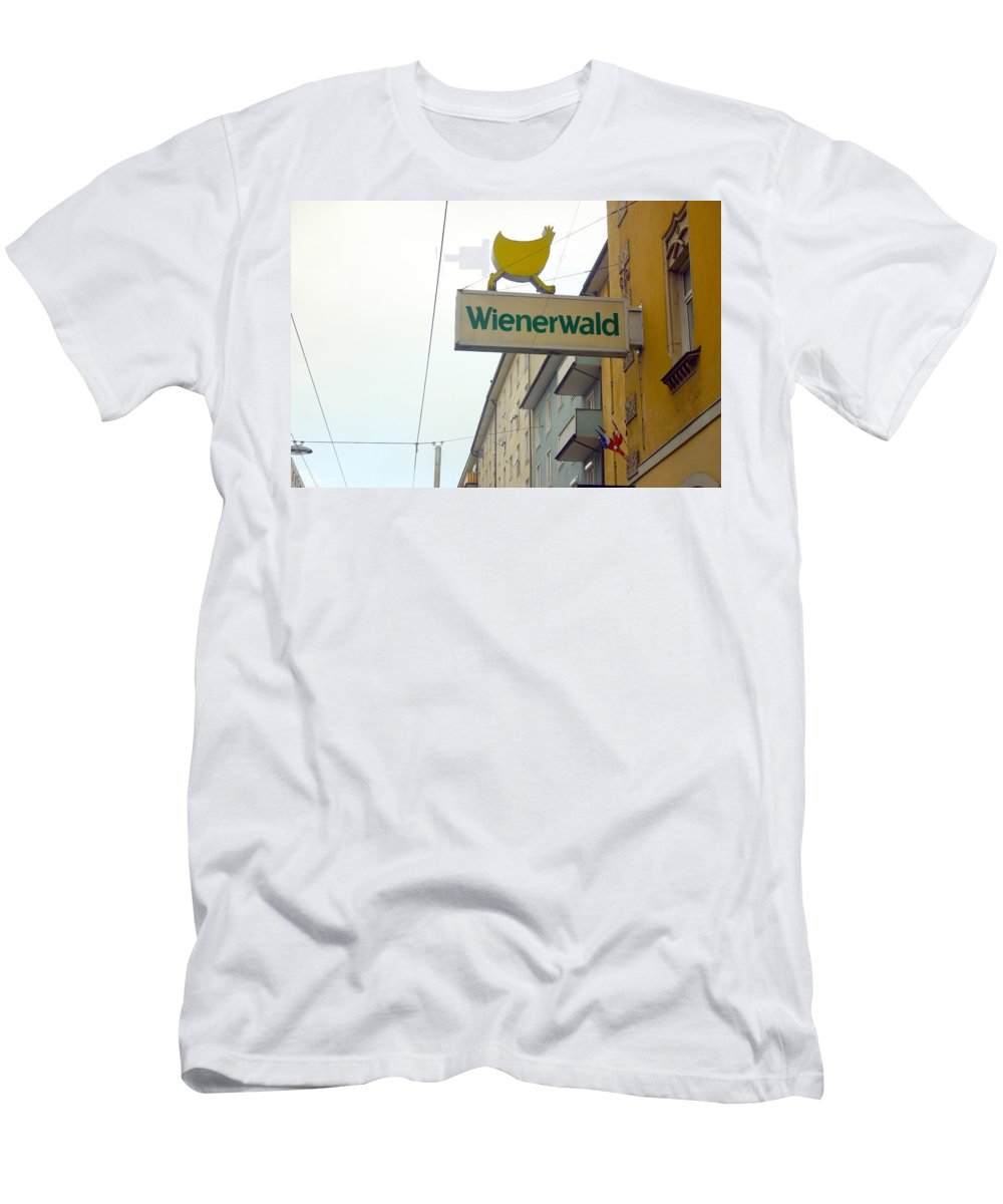 Chicken Men's T-Shirt (Athletic Fit) featuring the photograph Wienerwald In Salzburg by Minaz Jantz