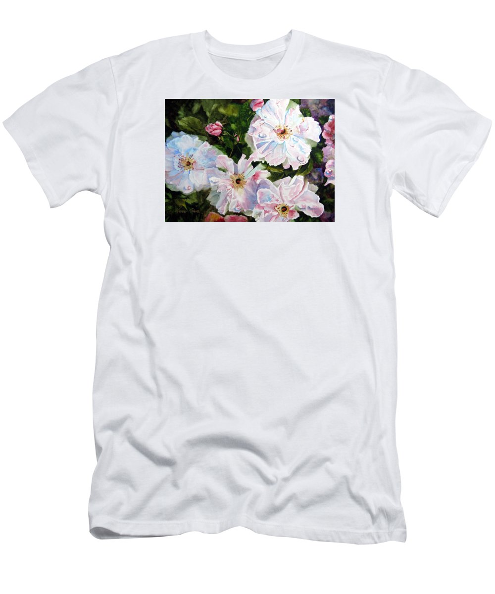 Flowers T-Shirt featuring the painting Wild Roses by Karen Stark