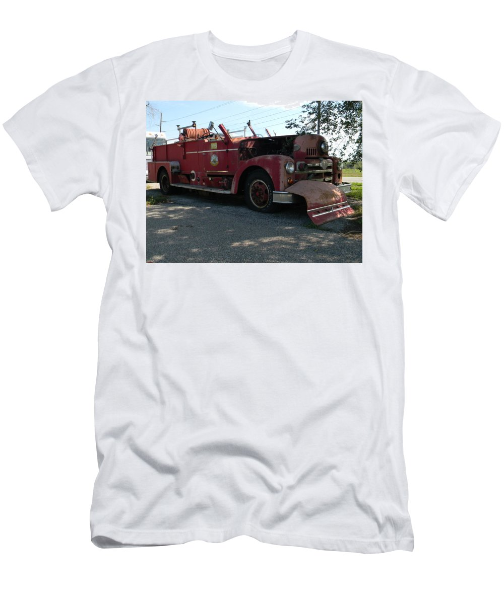 Fire Truck Men's T-Shirt (Athletic Fit) featuring the photograph Willig Collection 6 Fire Truck by R John Ferguson