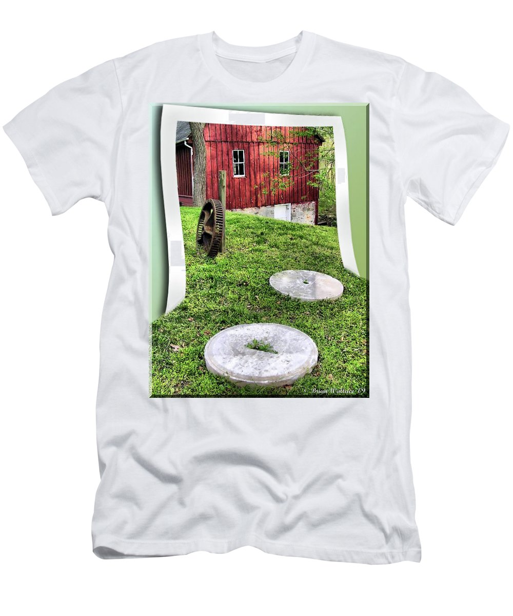 2d Men's T-Shirt (Athletic Fit) featuring the photograph Williston Mill And Grist Wheels by Brian Wallace