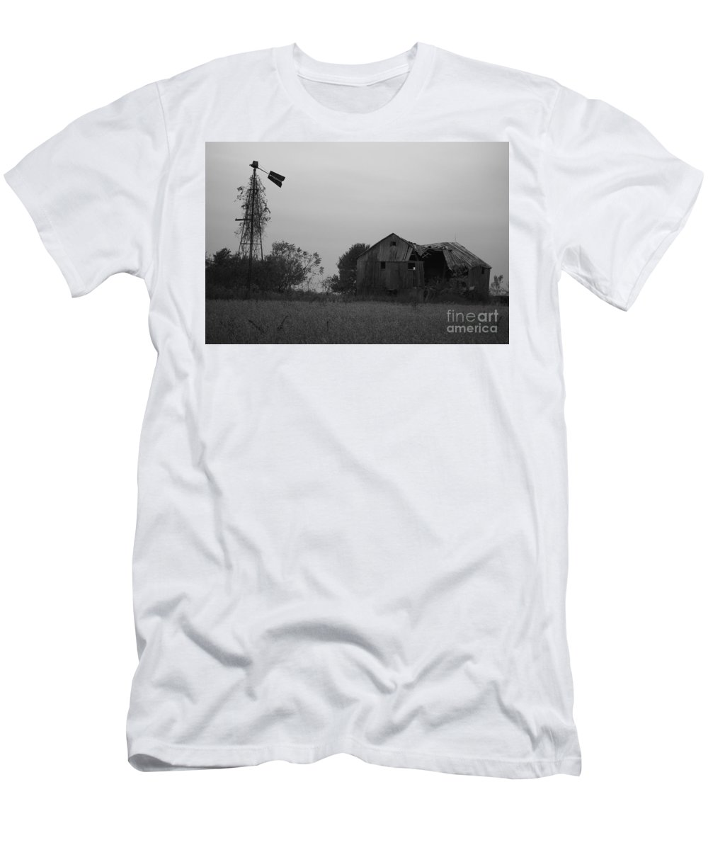 Windmill Men's T-Shirt (Athletic Fit) featuring the photograph Windmill And Barn In Black And White by Brook Steed
