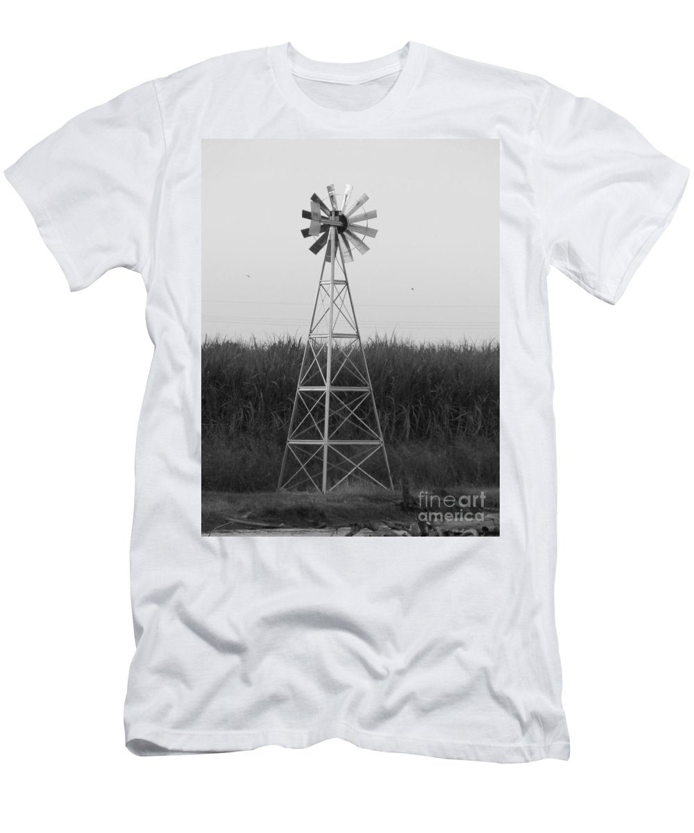 Black And White Men's T-Shirt (Athletic Fit) featuring the photograph Windmill by Michelle Powell