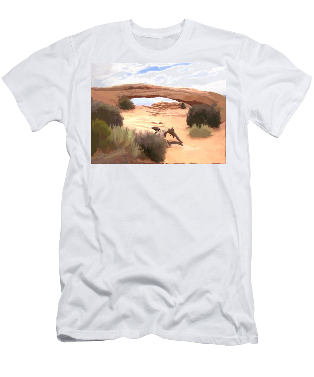 Window Men's T-Shirt (Athletic Fit) featuring the digital art Window On The Valley by Gary Baird
