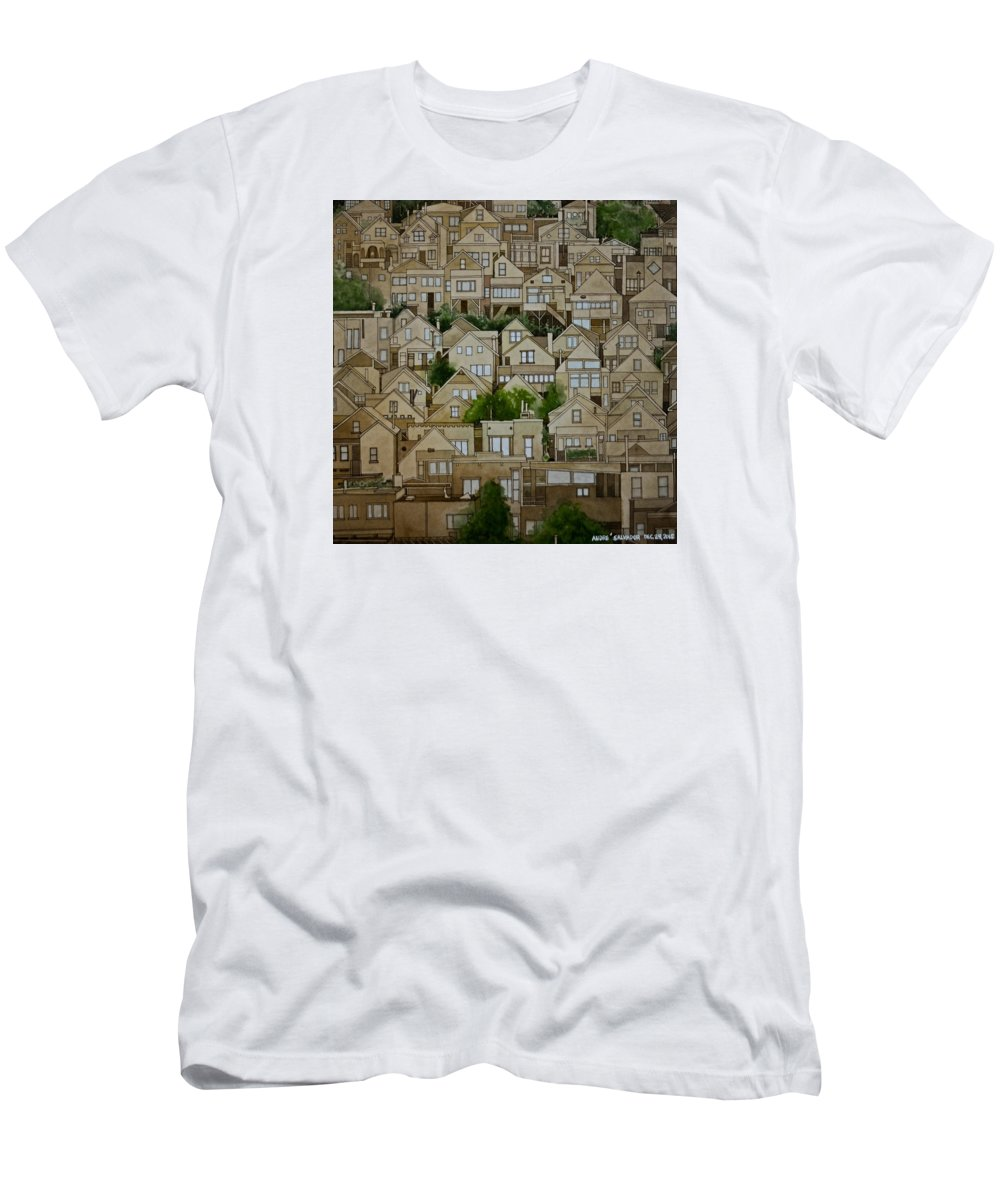 Transparent Watercolor Men's T-Shirt (Athletic Fit) featuring the painting Windows Of Bernal Heights by Andre Salvador