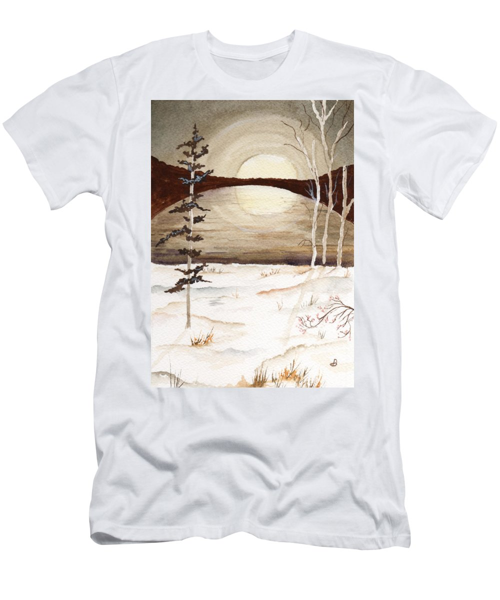 Watercolor Men's T-Shirt (Athletic Fit) featuring the painting Winter Apex by Brenda Owen