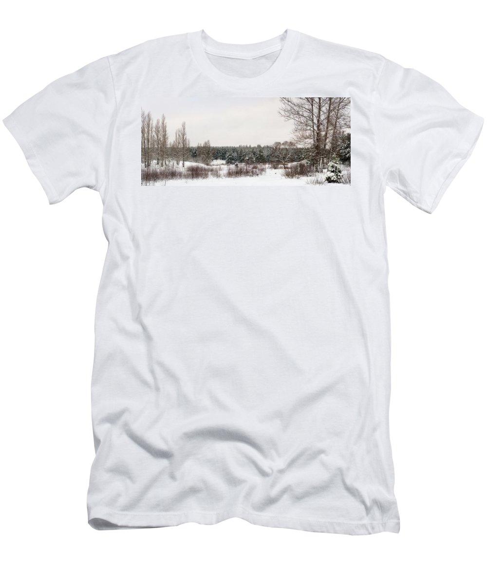 Backgrounds Men's T-Shirt (Athletic Fit) featuring the photograph Winter Glade Under Snow. by Vadzim Kandratsenkau