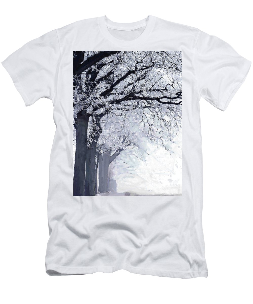 Winter Painting Tree Trees Frost Ice Snow Cold Nature Landscape Street Expressionism Men's T-Shirt (Athletic Fit) featuring the painting Winter In Our Street by Steve K