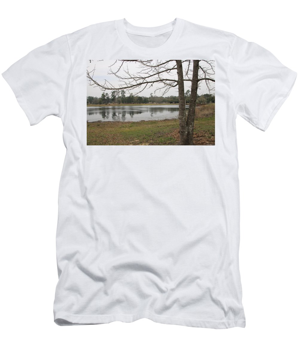 Bare Branches Men's T-Shirt (Athletic Fit) featuring the photograph Winter In The Spring by Laura Martin