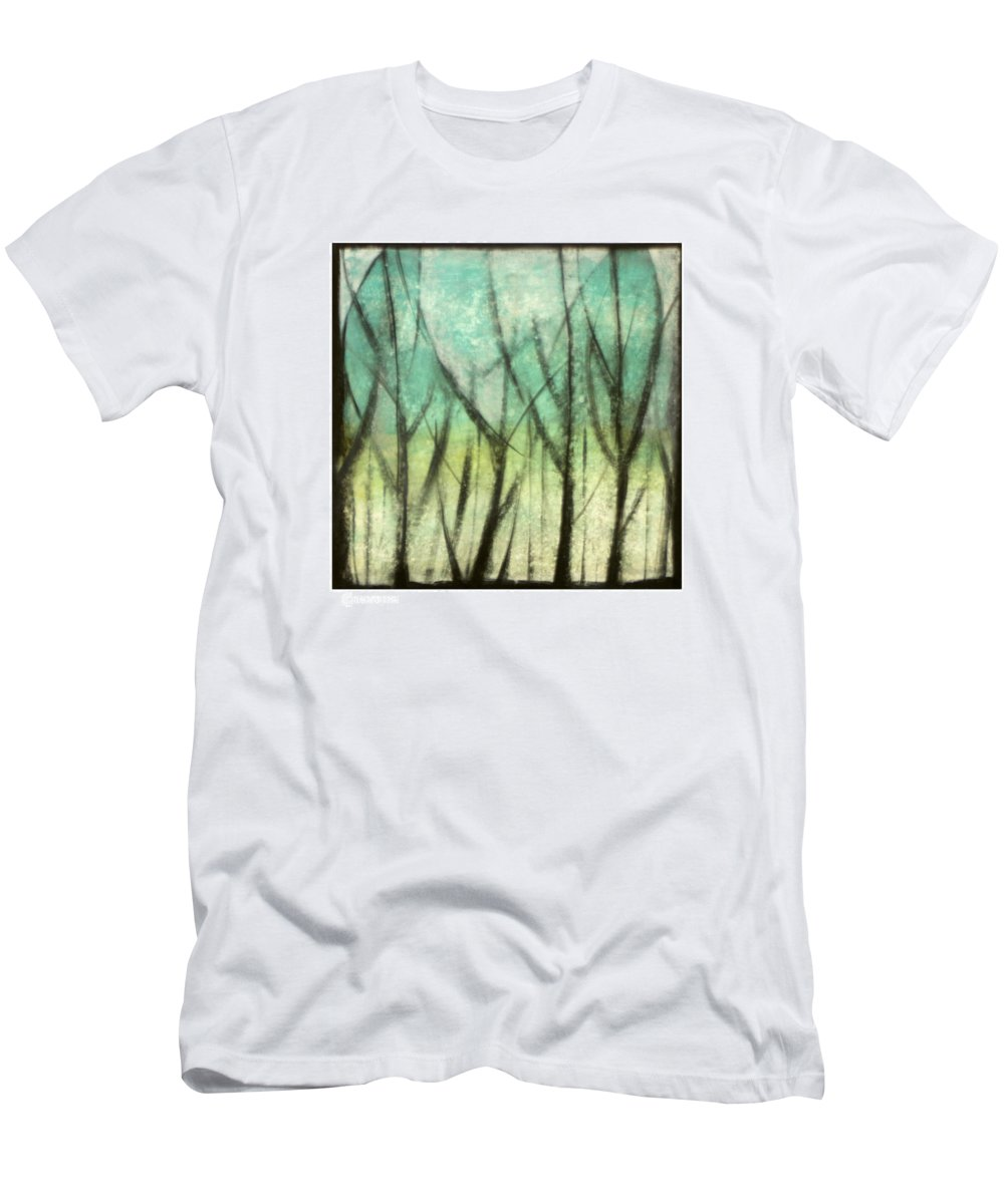 Trees Men's T-Shirt (Athletic Fit) featuring the painting Winter Into Spring by Tim Nyberg
