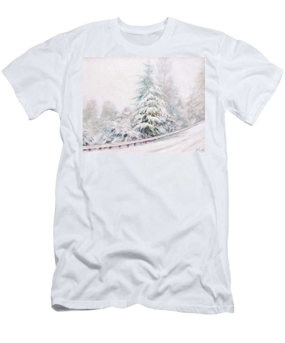 Winter Landscape Men's T-Shirt (Athletic Fit) featuring the painting Winter Of 04 by Jim Gola