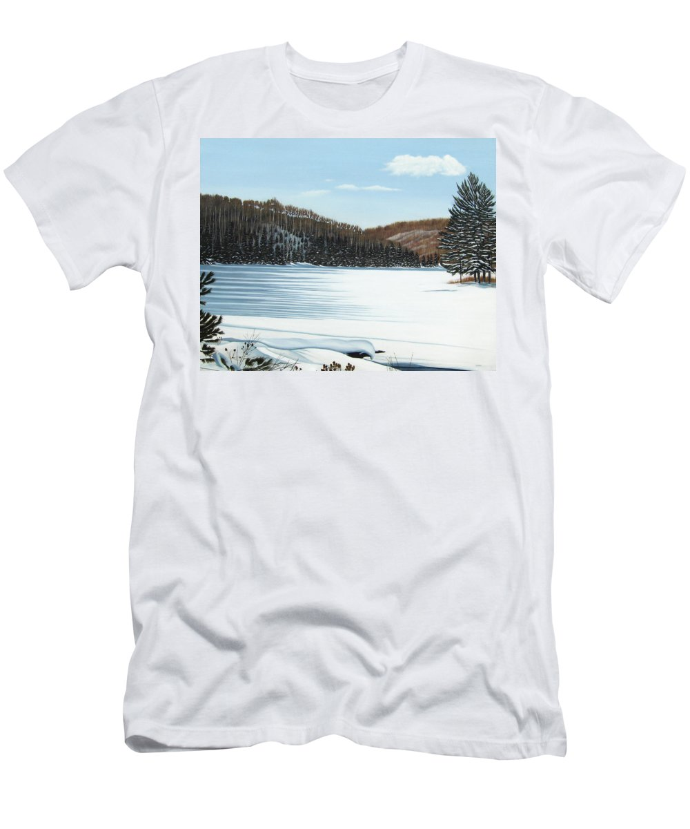 Landscapes Men's T-Shirt (Athletic Fit) featuring the painting Winter On An Ontario Lake by Kenneth M Kirsch