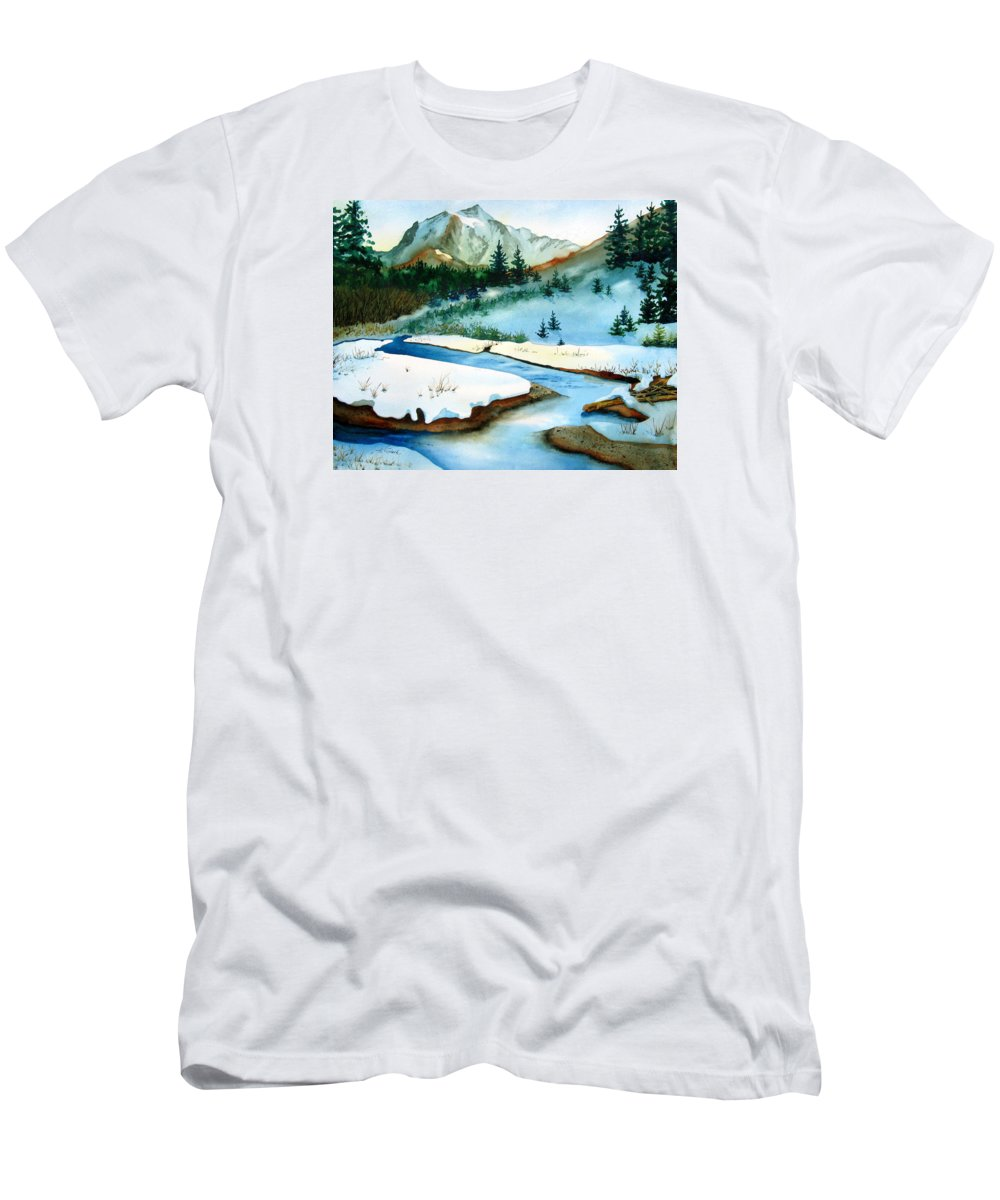 Winter Men's T-Shirt (Athletic Fit) featuring the painting Winter Retreating by Karen Stark