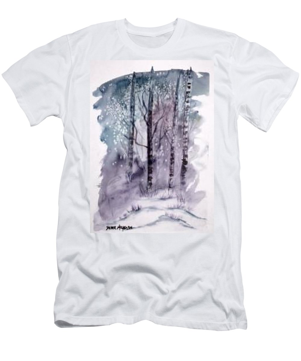Watercolor Landscape Painting Men's T-Shirt (Athletic Fit) featuring the painting Winter Snow Landscape Painting Print by Derek Mccrea