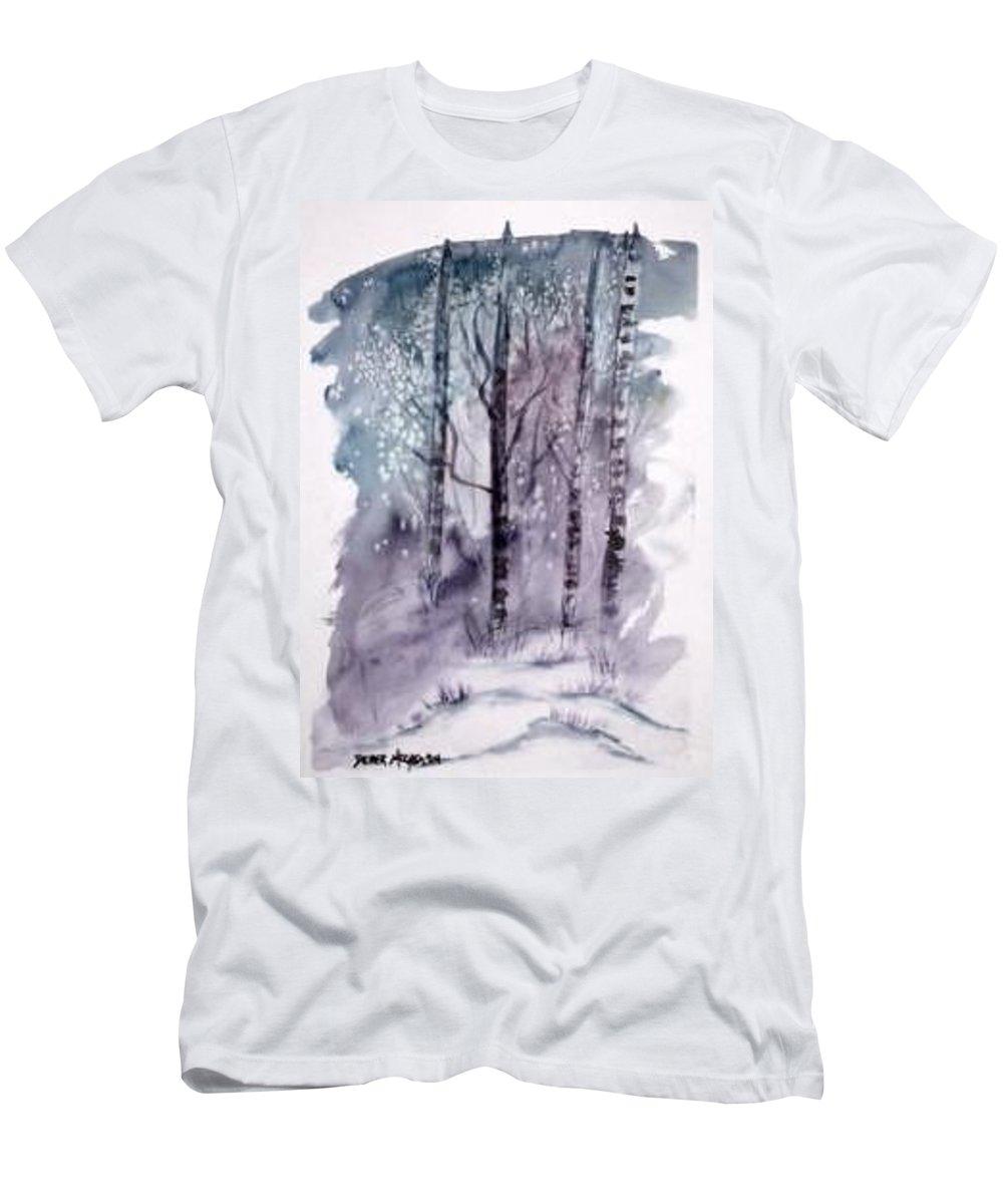 Watercolor Landscape Painting Men's T-Shirt (Athletic Fit) featuring the painting Winter Snow Landscape Painting Print by Derek Mccrea