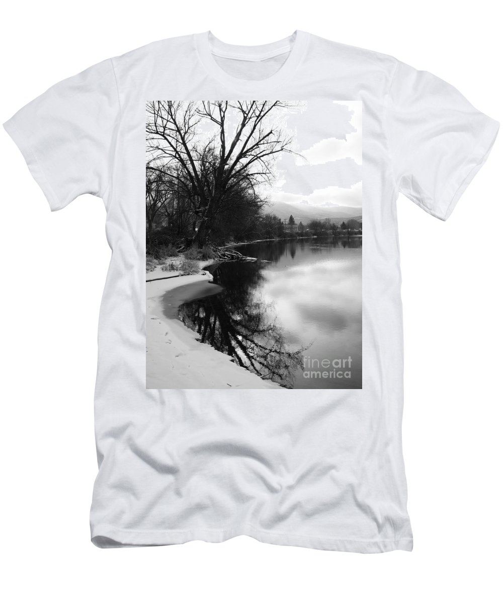 Black And White T-Shirt featuring the photograph Winter Tree Reflection - Black and White by Carol Groenen