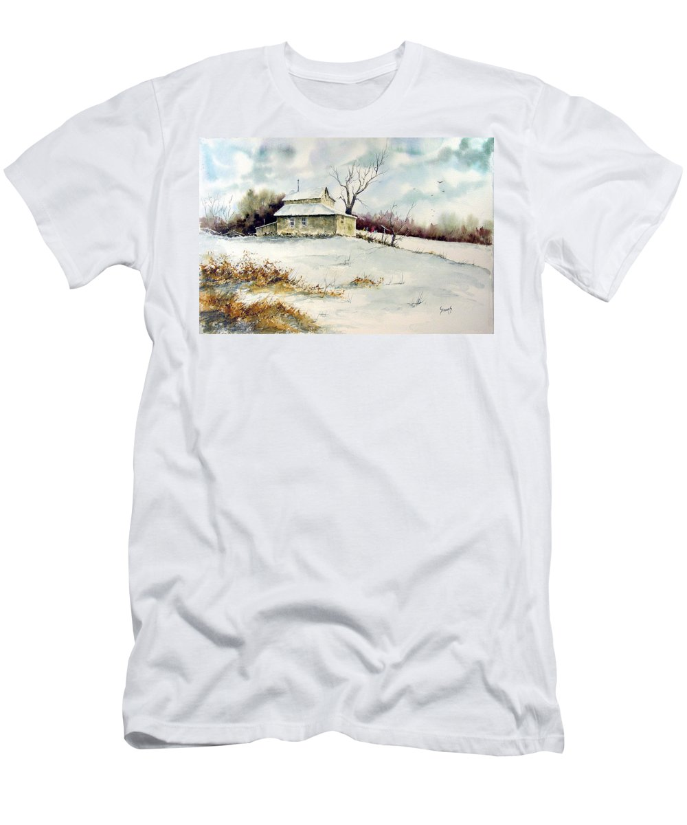 Snow Men's T-Shirt (Athletic Fit) featuring the painting Winter Washday by Sam Sidders