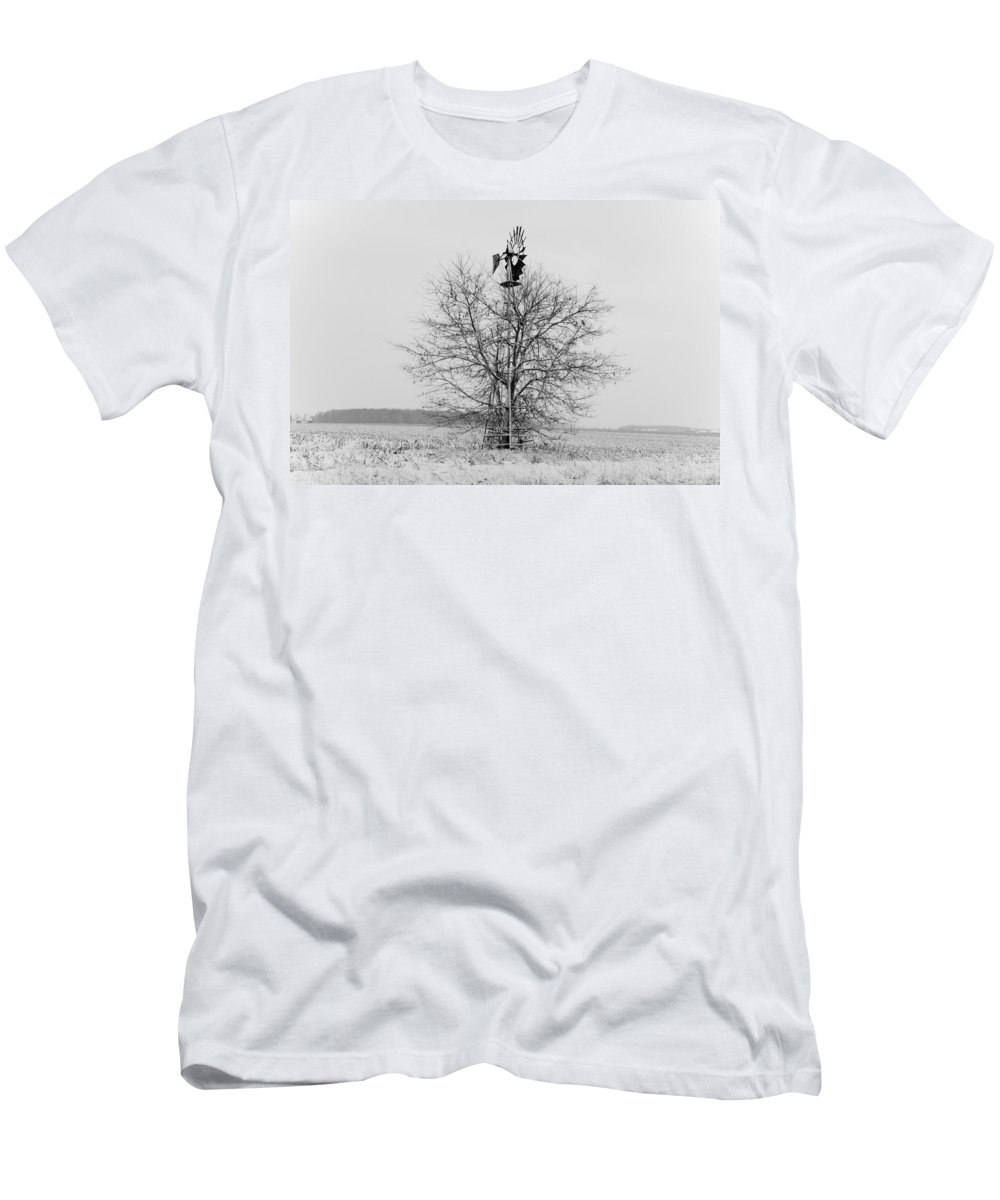 Windmill Men's T-Shirt (Athletic Fit) featuring the photograph Winter Windmill by David Arment