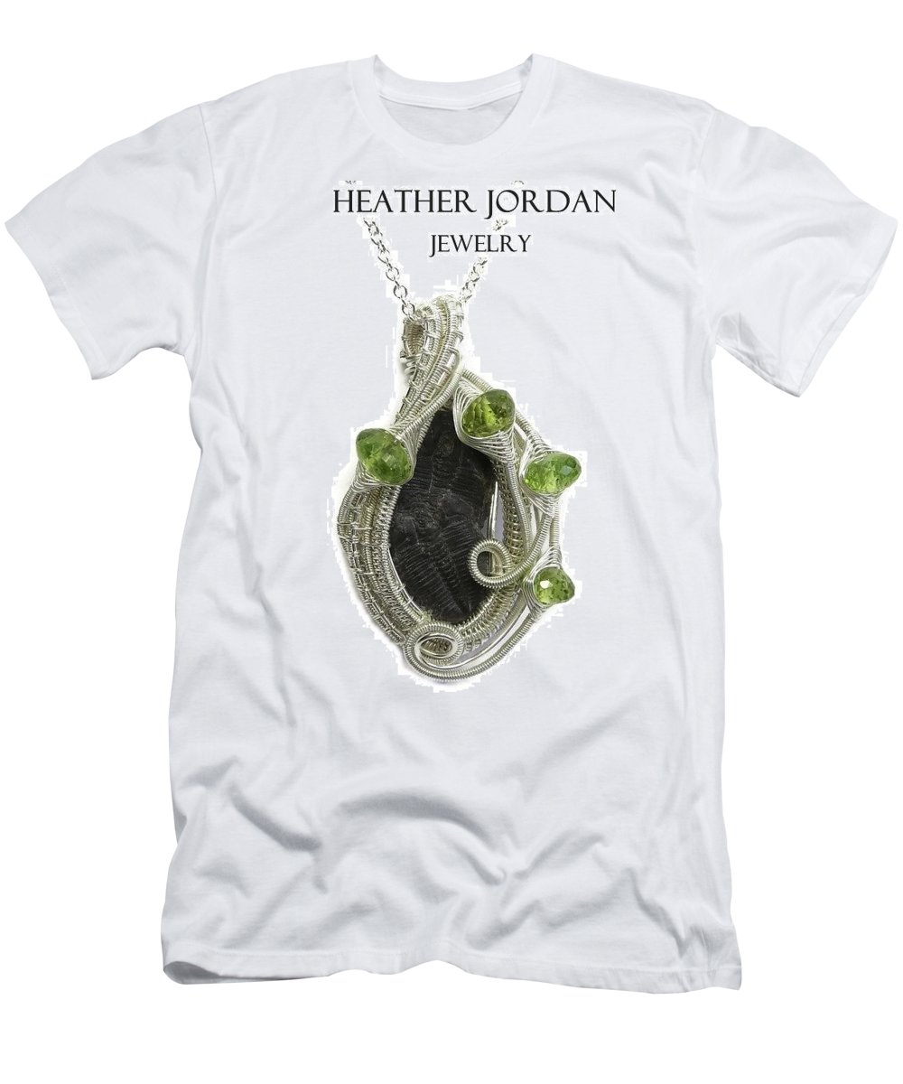 Heather Jordan Men's T-Shirt (Athletic Fit) featuring the jewelry Wire-wrapped Double-trilobite Fossil Pendant In Sterling Silver With Peridot - Trilss11 by Heather Jordan