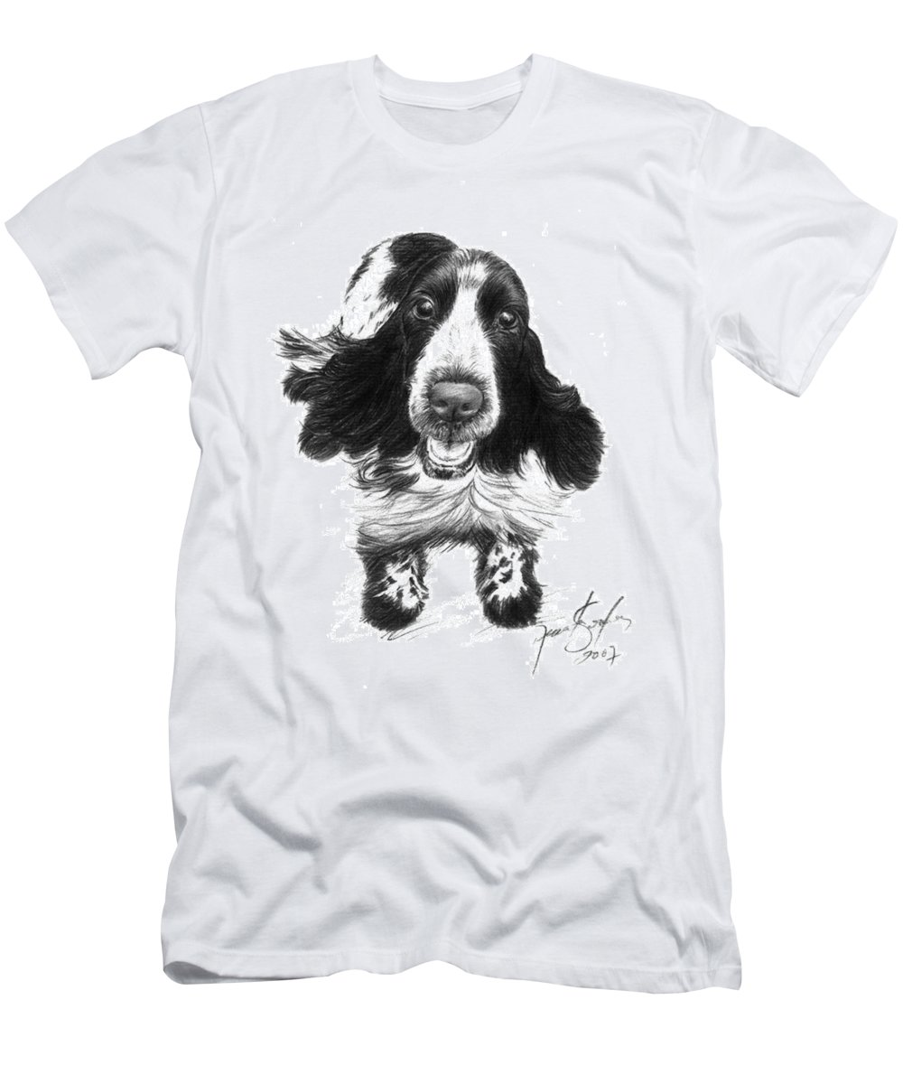 Cocker Spaniel Men's T-Shirt (Athletic Fit) featuring the drawing Wish Lady by Renata Clare