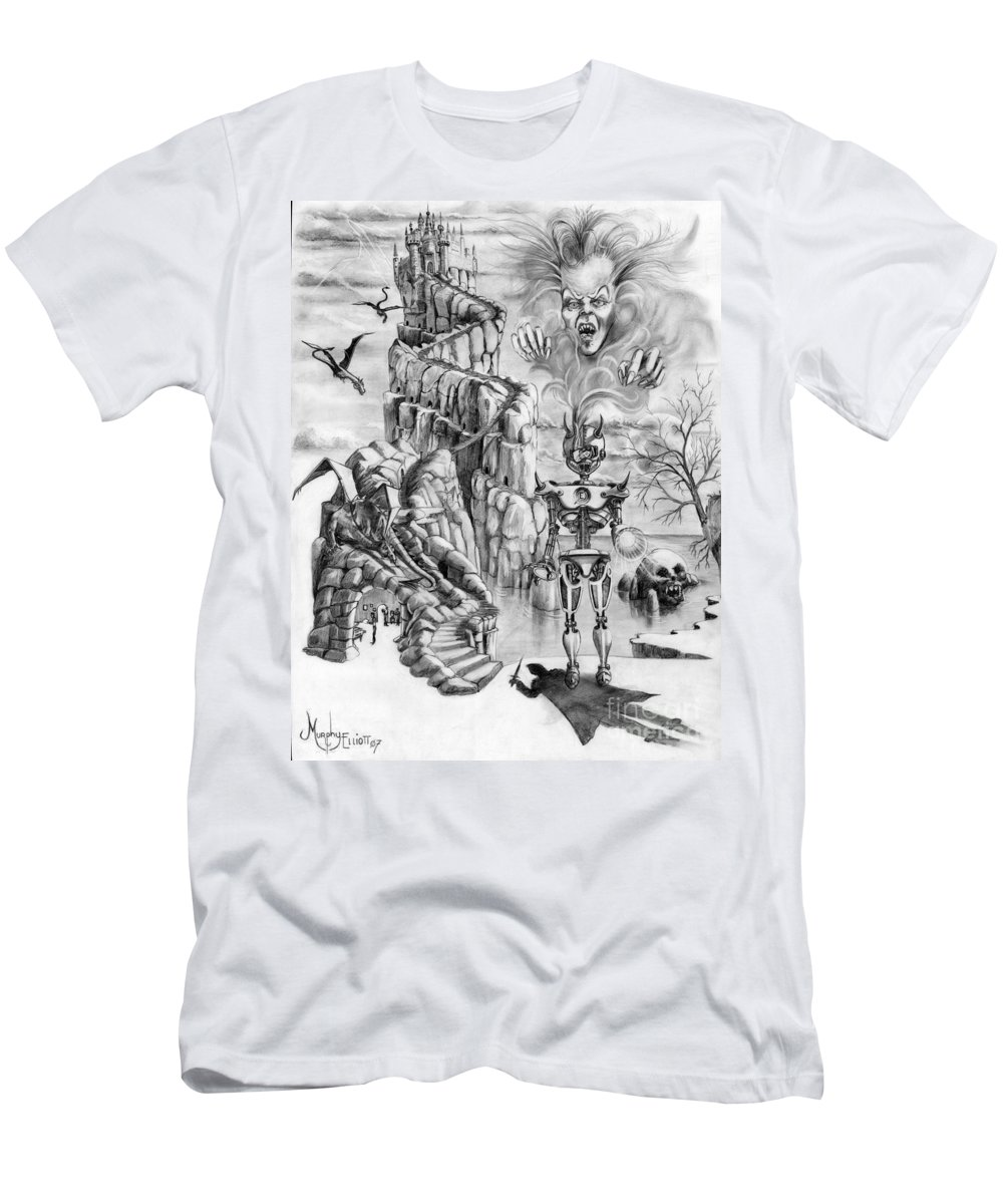 Witch Men's T-Shirt (Athletic Fit) featuring the drawing Witch Hunter by Murphy Elliott