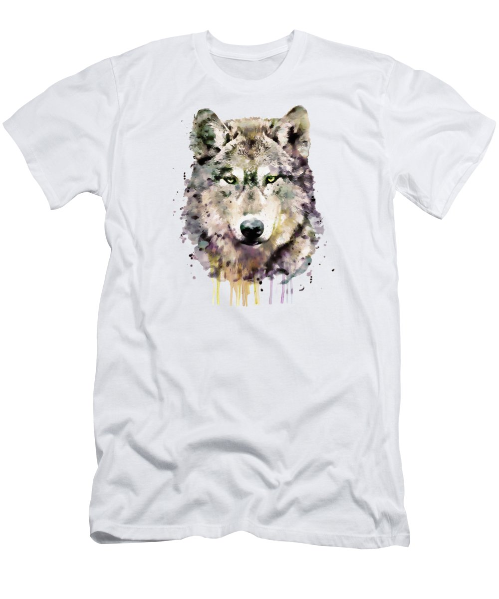 Wolf T-Shirt featuring the painting Wolf Head by Marian Voicu