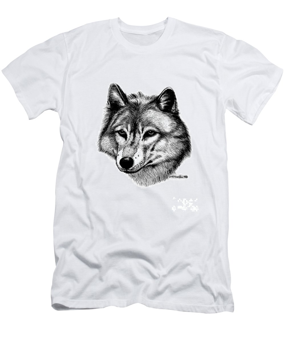 Wolf Men's T-Shirt (Athletic Fit) featuring the drawing Wolf In Pencil by Nick Gustafson