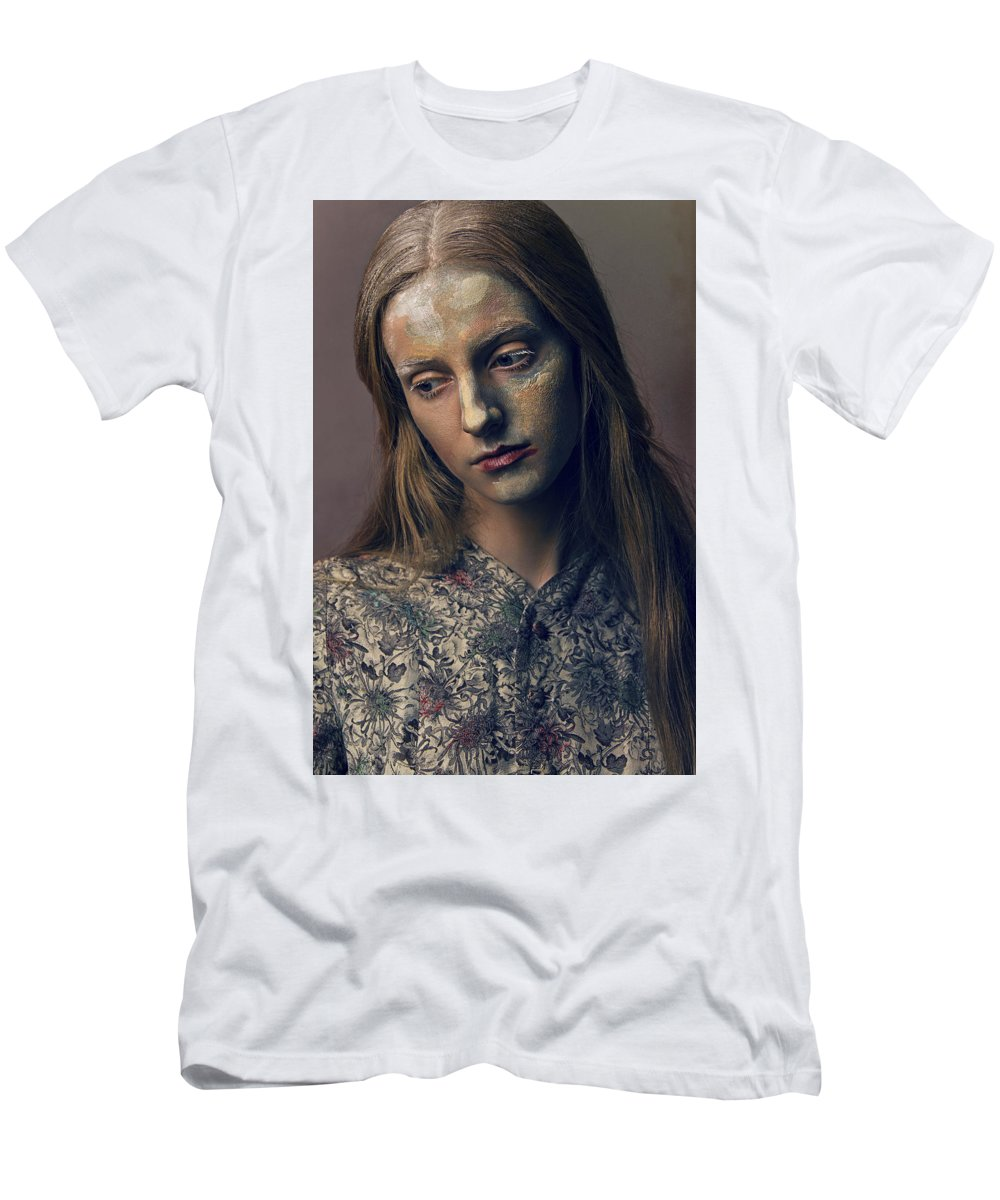 Art Men's T-Shirt (Athletic Fit) featuring the photograph Woman In Painterly Look by Veronica Azaryan