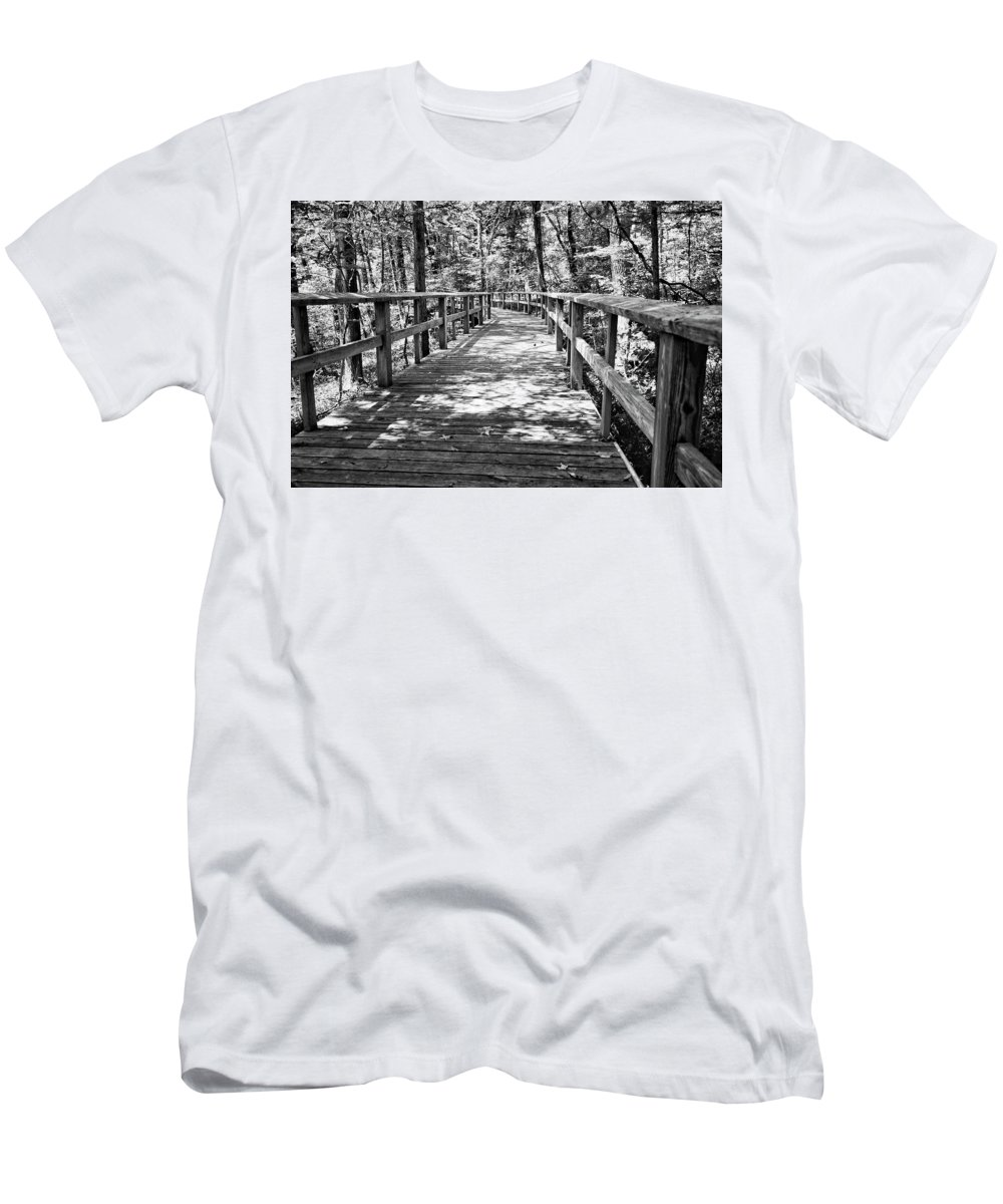 Walkway Men's T-Shirt (Athletic Fit) featuring the photograph Wooden Boardwalk B by John Myers