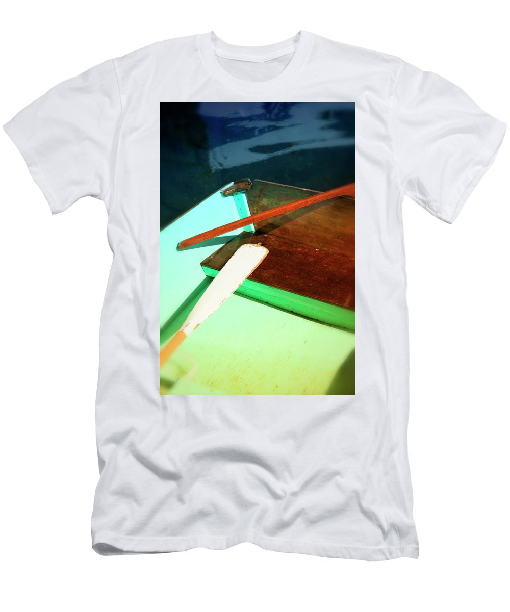 Old Men's T-Shirt (Athletic Fit) featuring the photograph Wooden Dingy by Savanah Plank