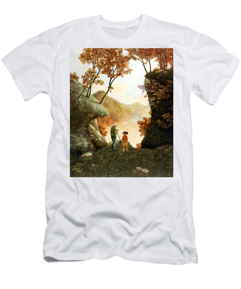 Mountain Men's T-Shirt (Athletic Fit) featuring the painting Words Of Wisdom by Duane R Probus