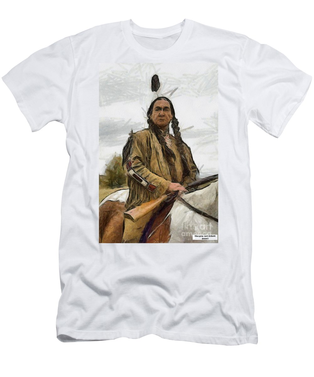 Portrait Men's T-Shirt (Athletic Fit) featuring the painting Wounded Knee by Murphy Elliott