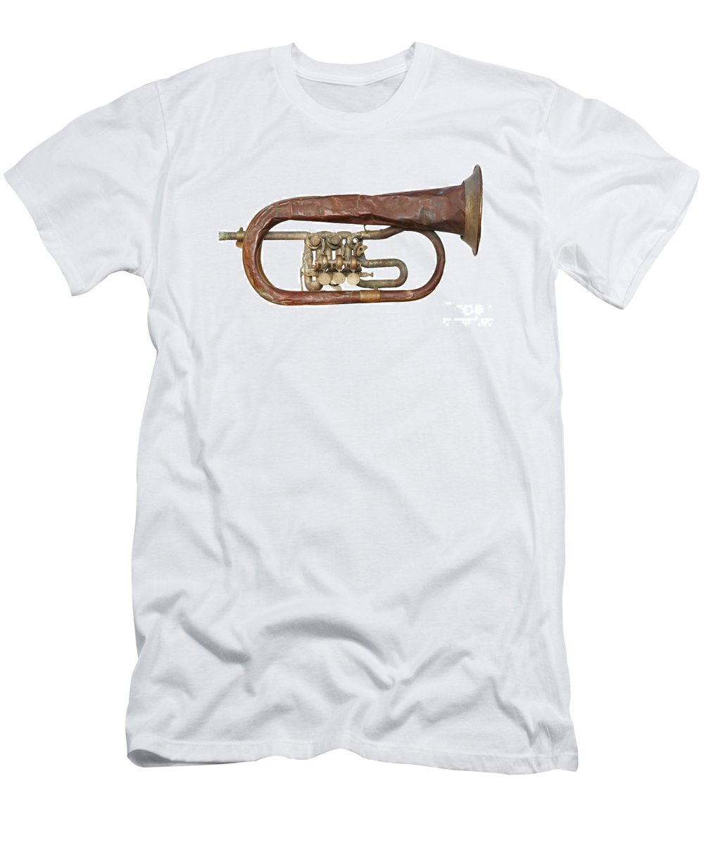 Craftsmanship Men's T-Shirt (Athletic Fit) featuring the photograph Wrinkled Old Trumpet by Michal Boubin