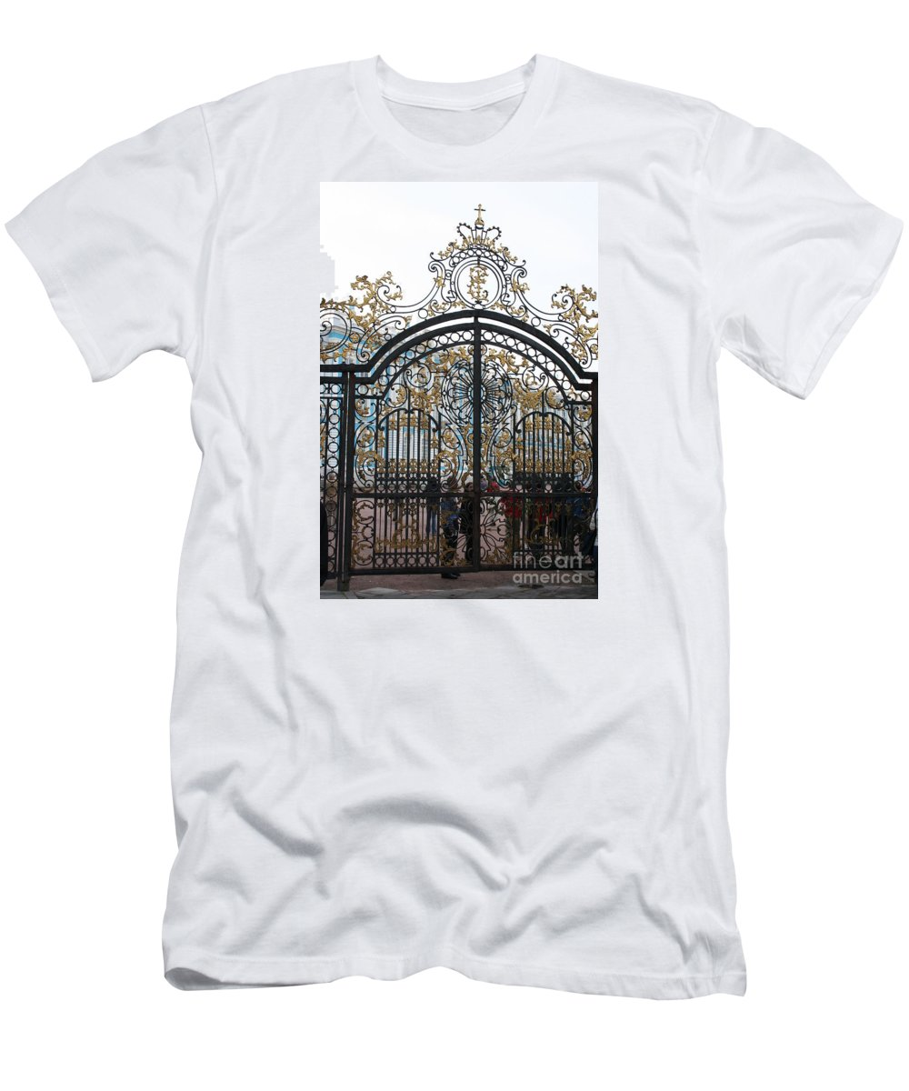 Gate Men's T-Shirt (Athletic Fit) featuring the photograph Wrought Iron Gate by Christiane Schulze Art And Photography