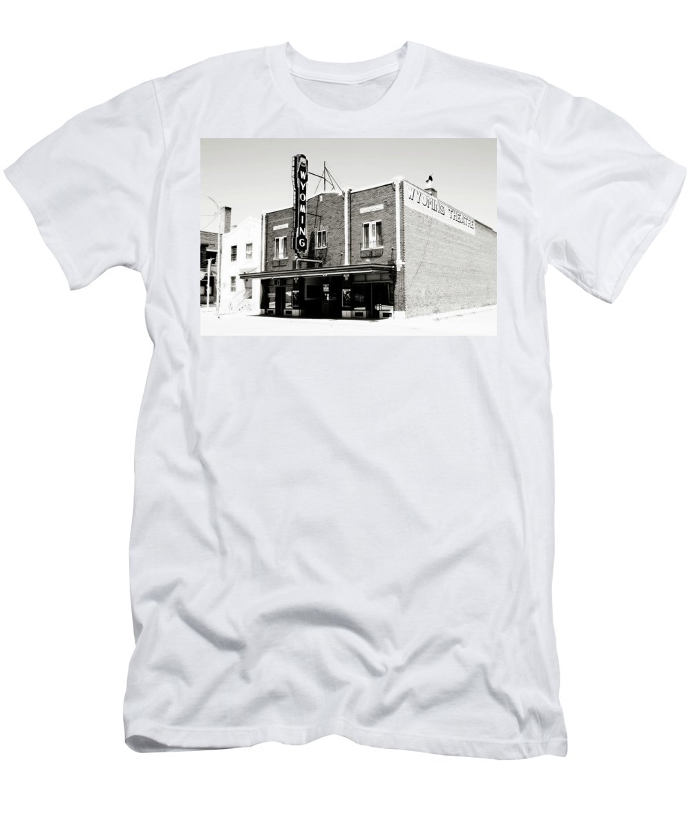 Americana Men's T-Shirt (Athletic Fit) featuring the photograph Wyoming Theater 2 by Marilyn Hunt