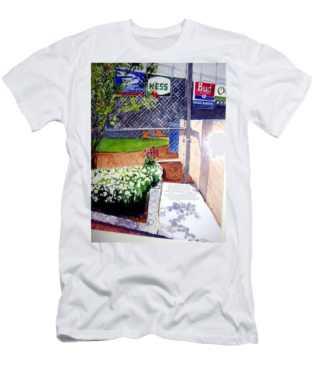 Ballpark Men's T-Shirt (Athletic Fit) featuring the painting Yankee Stadium by Sandy Ryan