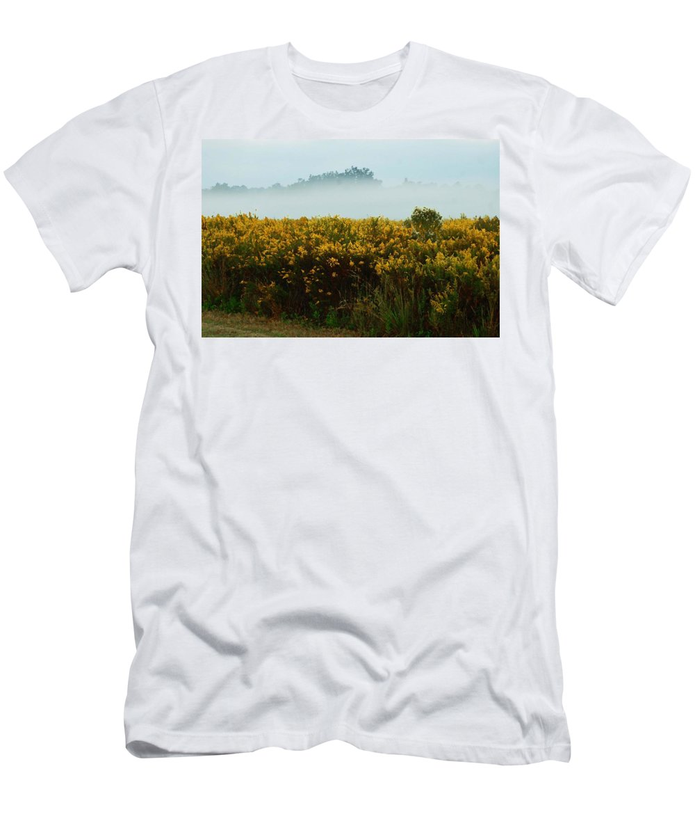 Pelican Men's T-Shirt (Athletic Fit) featuring the digital art Yellow Field And The Fog by Michael Thomas