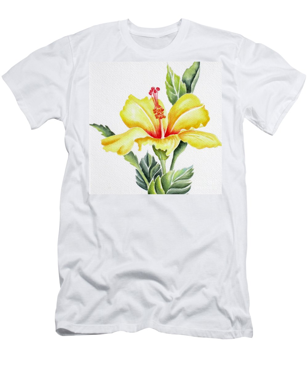 Hibiscus Men's T-Shirt (Athletic Fit) featuring the painting Yellow Hibiscus by Deborah Ronglien