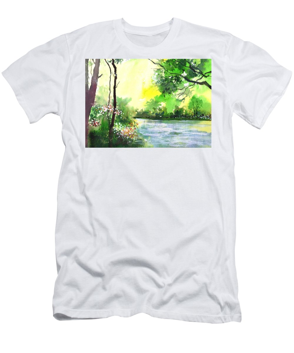 Sky Men's T-Shirt (Athletic Fit) featuring the painting Yellow Sky by Anil Nene