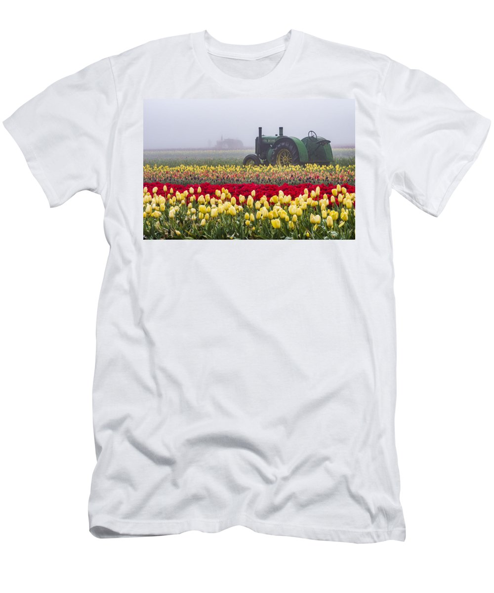 Agriculture Men's T-Shirt (Athletic Fit) featuring the photograph Yellow Tulips And Tractors by John Trax