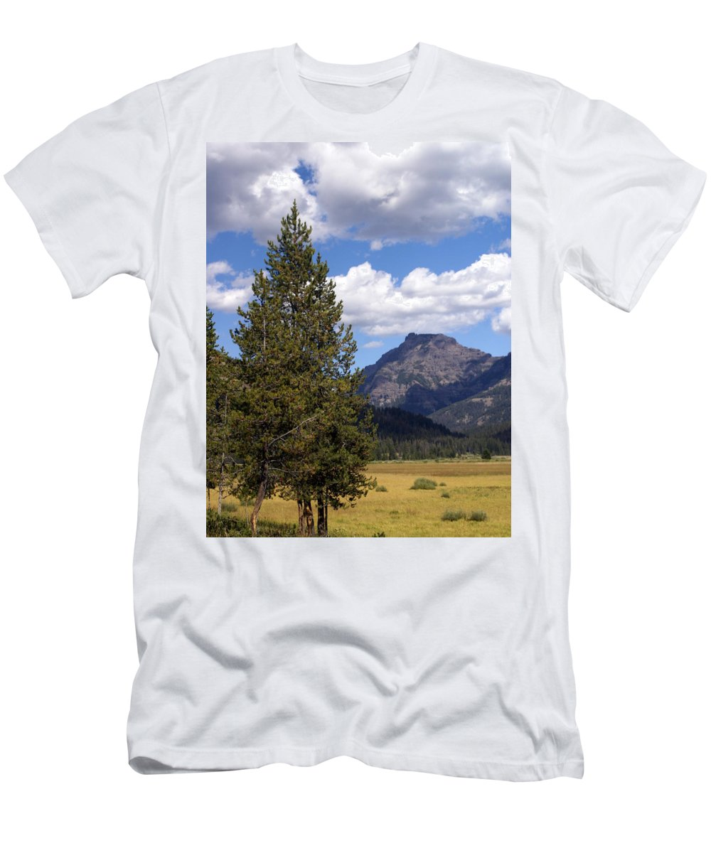 Yellowstone National Park Men's T-Shirt (Athletic Fit) featuring the photograph Yellowstone Landscape by Marty Koch