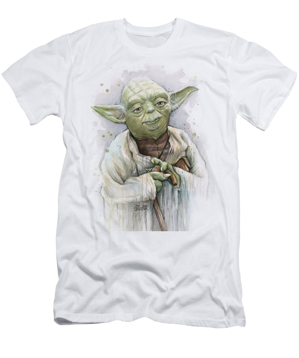 Yoda Men's T-Shirt (Athletic Fit) featuring the painting Yoda by Olga Shvartsur