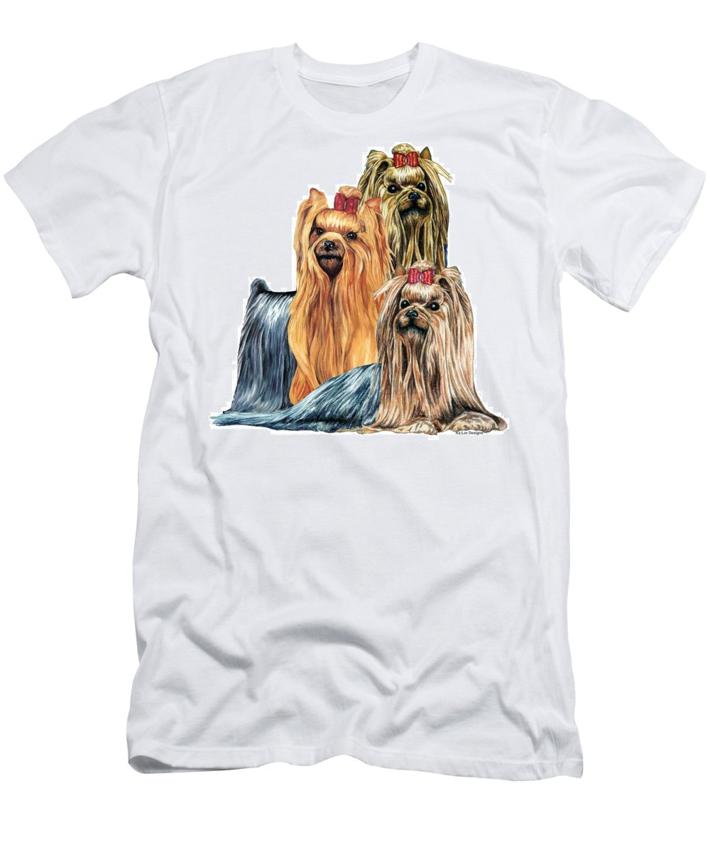 Yorkshire Terrier Men's T-Shirt (Athletic Fit) featuring the drawing Yorkshire Terriers by Kathleen Sepulveda