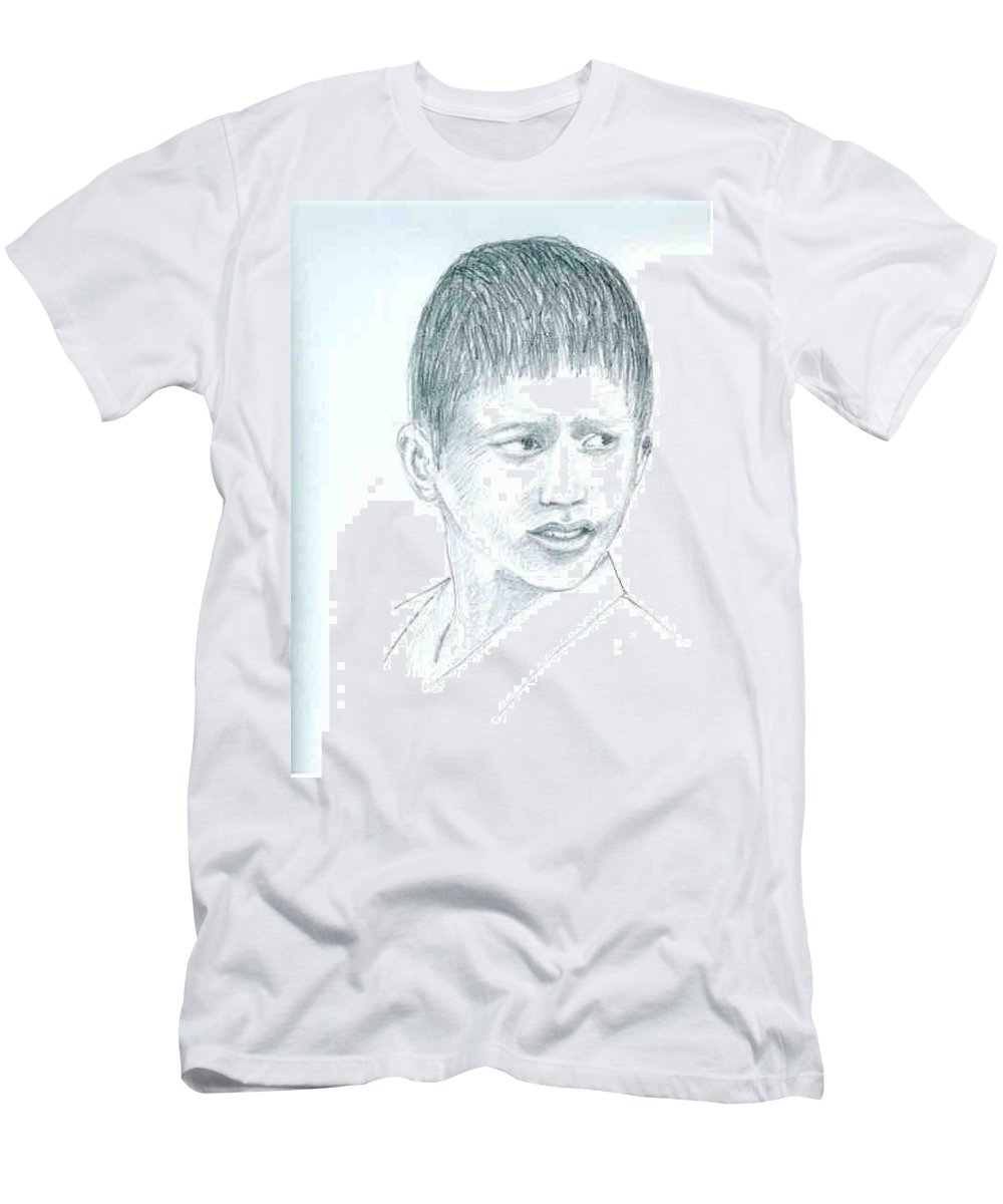 Men's T-Shirt (Athletic Fit) featuring the drawing Young Boy by Asha Sudhaker Shenoy