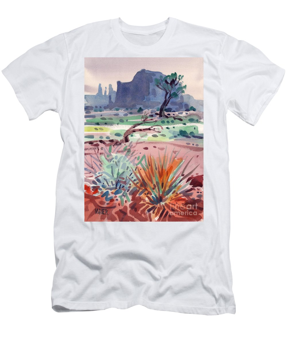 Monument Valley Men's T-Shirt (Athletic Fit) featuring the painting Yucca And Buttes by Donald Maier