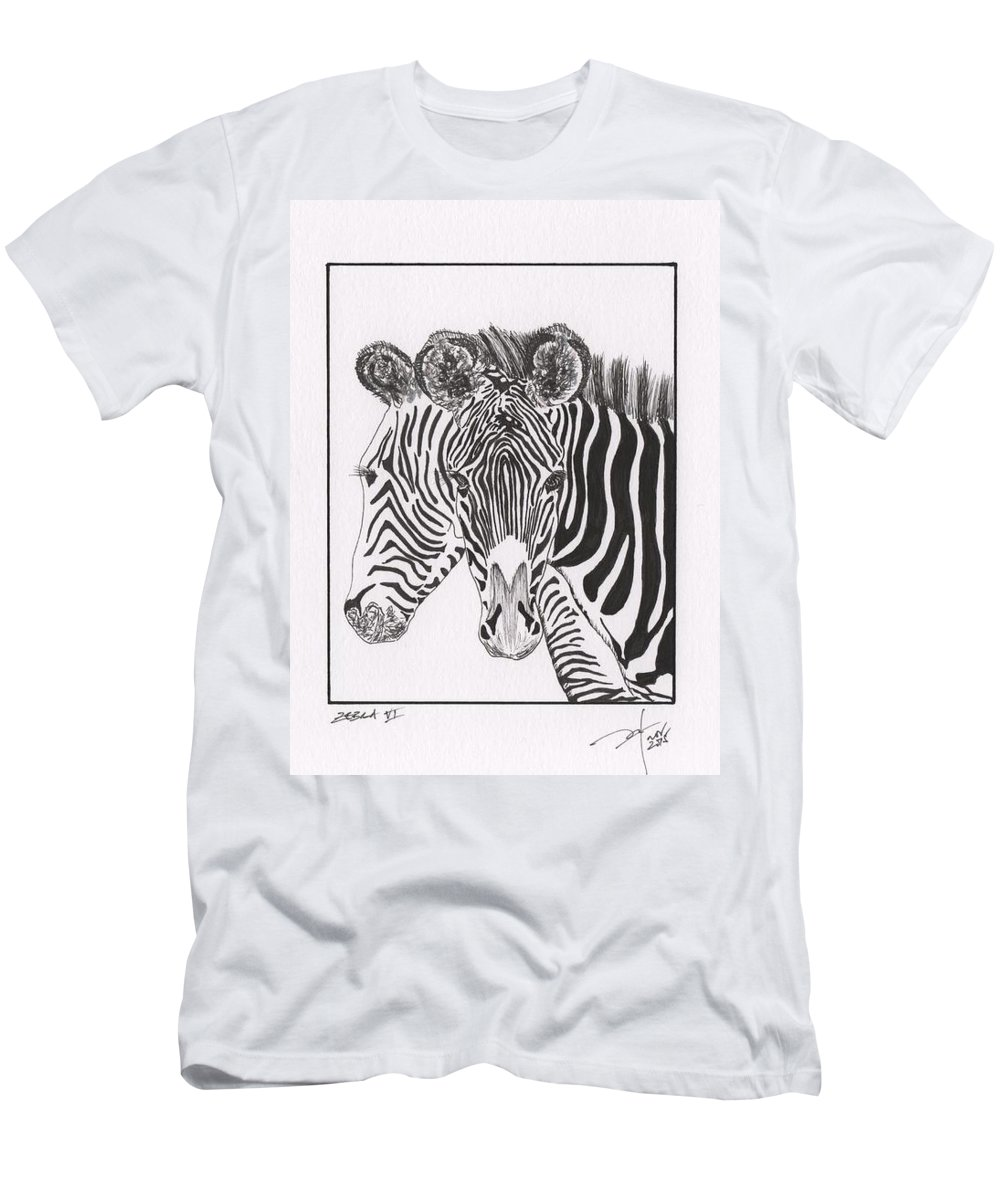 Zebra Men's T-Shirt (Athletic Fit) featuring the drawing Zebra Series 6 by Pedro Brito Soares