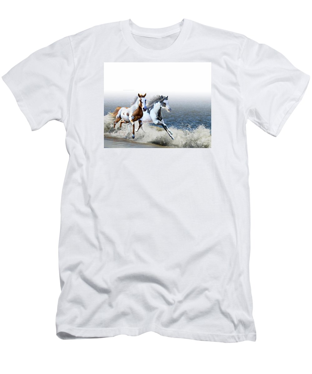 Paint Horses Men's T-Shirt (Athletic Fit) featuring the digital art Ziggy's And Annie's Beach Run by Barbara Hymer