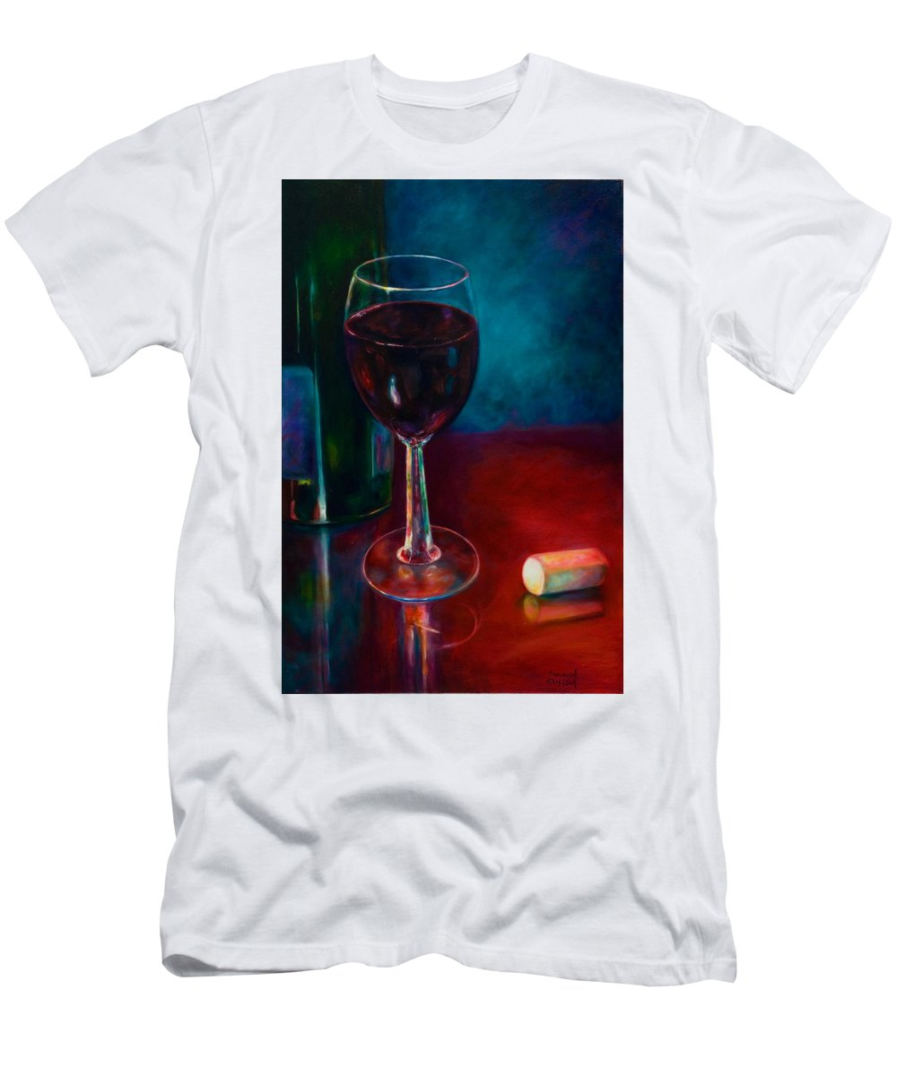 Wine Bottle Men's T-Shirt (Slim Fit) featuring the painting Zinfandel by Shannon Grissom